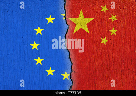 European Union flag  and Chinese flag painted on cracked wall , EU and China relations - Stock Photo