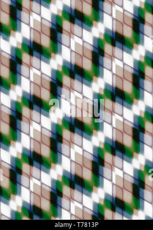 Abstract background assembled at an angle of intersecting green,beige, white, black rhombuses and covered of texture canvas - Stock Photo