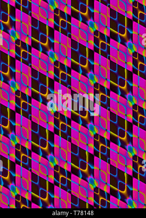 Abstract background, collected at an angle of purple and black rhombuses covered with iridescent intersecting rhombuses-shaped cells - Stock Photo