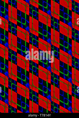 Abstract background, collected at an angle of red and black rhombuses covered with iridescent, intersecting green and blue rhombuses- shaped cells - Stock Photo
