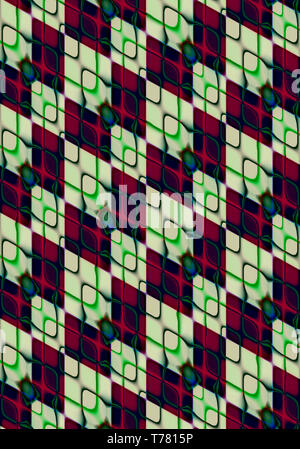 Abstract background assembled at an angle of light green and black rhombuses covered with iridescent,intersecting green with burgundy rhombuses-shaped - Stock Photo