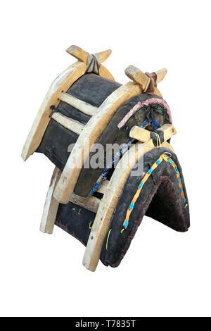 wooden saddle for donkey - Stock Photo