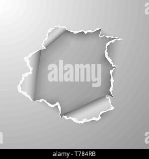 Torn hole in sheet of paper on transparent background with space for text. Vector illustration - Stock Photo