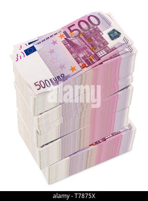 Euro 3D rendering on white background.euro, European Currency Unit.(with Clipping Path). - Stock Photo