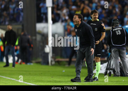 Buenos Aires, Argentina - May 04, 2019: Gabriel Milito (Estudiantes LP) shouting to his players in Buenos Aires, Argentina - Stock Photo