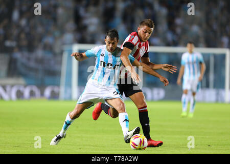 Buenos Aires, Argentina - May 04, 2019: Dario Cvitanic (Racing) holding the ball against the Estudiantes LP defense in Buenos Aires, Argentina - Stock Photo