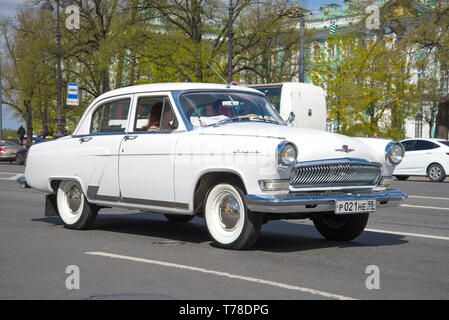SAINT-PETERSBURG, RUSSIA - MAY 21, 2017: Retro car GAZ-21 'Volga' on a city street close up - Stock Photo