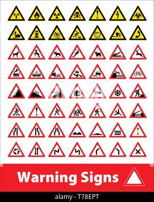 Warning sign symbol. Set design icons element. - Stock Photo