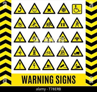 Warning signs set. Caution background. - Stock Photo