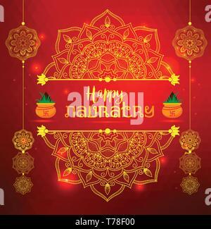 Illustration Of Happy Navratri Celebration Poster. Red banner Background. - Stock Photo
