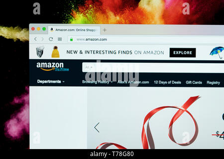 Sankt-Petersburg Russia December 4 2017: Home page of online e-commerce marketplace Amazon.com on iMac monitor screen. The largest online seller and t - Stock Photo