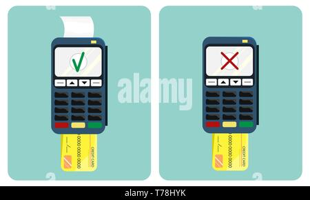 Flat illustration of the payment terminal and credit card. Approved and disapproved transaction. POS terminal. Flat design. - Stock Photo