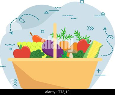 Basket with autumn harvest. Farm fruits and vegetables. Flat vector illustration Stock Photo