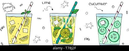 Hand drawn set of superfoods. Lemonades with ice. Flat vector hand drawn illustration - Stock Photo