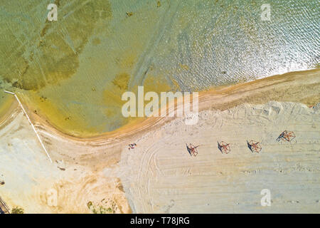 Sand beach aerial drone view, Nin in Dalmatia region of Croatia - Stock Photo