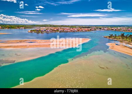 Historic town of Nin laguna and beach sandbars aerial view, Dalmatia region of Croatia - Stock Photo