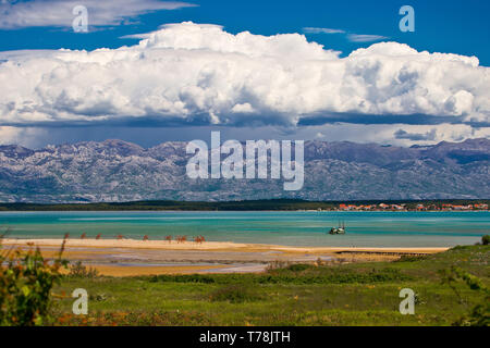 Amazing sea and mountain landscape near Nin, town in Dalmatia region of Croatia - Stock Photo