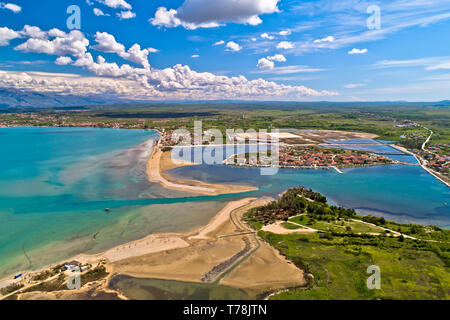 Historic town of Nin laguna and beach sandbars aerial view, Ravni Kotari background, Dalmatia region of Croatia - Stock Photo