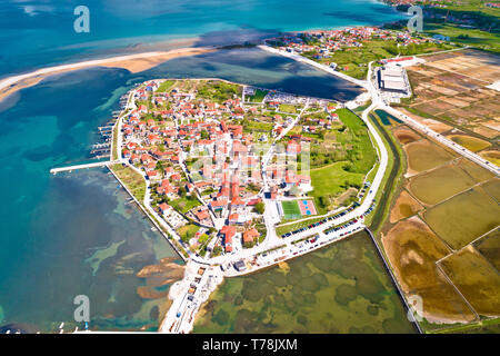 Historic town of Nin laguna and salt fields aerial panoramic view, Dalmatia region of Croatia - Stock Photo