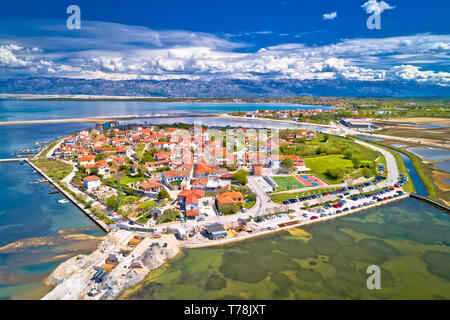 Historic town of Nin laguna aerial view, Dalmatia region of Croatia - Stock Photo