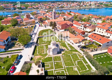 Historic town of Nin landmarks aerial view, Dalmatia region of Croatia - Stock Photo
