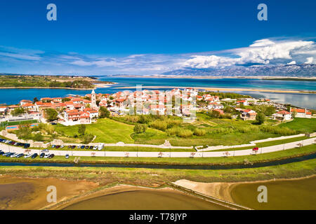 Historic town of Nin laguna and sandbars aerial view, Velebit mountain background, Dalmatia region of Croatia - Stock Photo