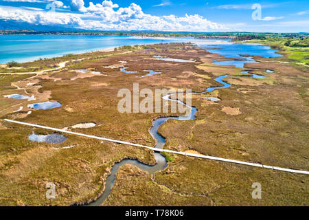 Sea marshes and shallow sand beach of Nin aerial view, Dalmatia region of Croatia - Stock Photo