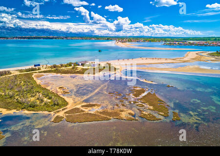 Adriatic town of Nin sandbar beach aerial view, Dalmatia region of Croatia - Stock Photo