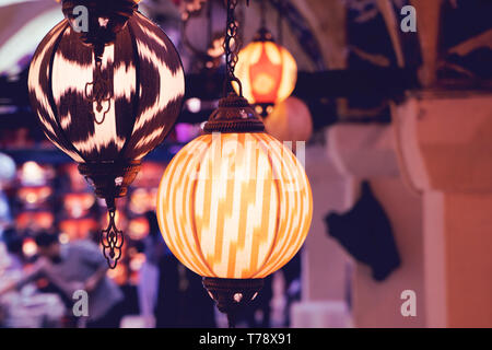Multi-colored lamps hanging at the Grand Bazaar in Istanbul. - Stock Photo