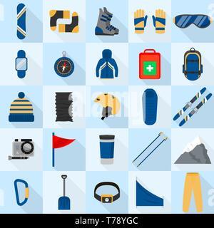 Mountain snowboarding equipment icons set, flat style - Stock Photo