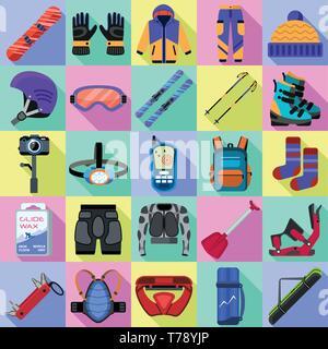 Snowboarding equipment icons set. Flat set of snowboarding equipment vector icons for web design - Stock Photo