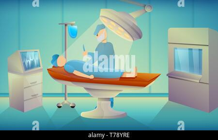 Surgeons operating room concept banner. Cartoon illustration of surgeons operating room vector concept banner for web design - Stock Photo
