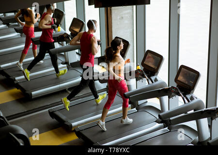 Man and woman doing cardio workout on treadmills in fitness club - Stock Photo