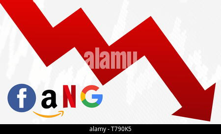 The FANG stocks are going down. A red zig-zag arrow shows downwards. FANG is the original acronym for the 4 tech stocks, namely Facebook, Amazon,... - Stock Photo