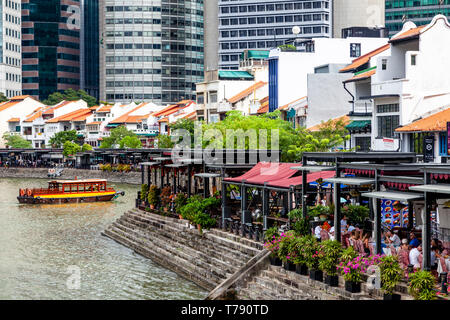 Boat Quay and The CBD Skyline, Singapore, South East Asia - Stock Photo