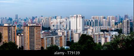 A Panoramic Image Of The Singapore Skyline, Singapore, Asia - Stock Photo