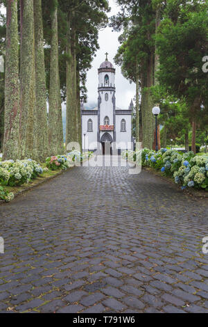 São Nicolau Church - Village Church in Sete Cidades, São Miguel, Azores, Portugal - Stock Photo