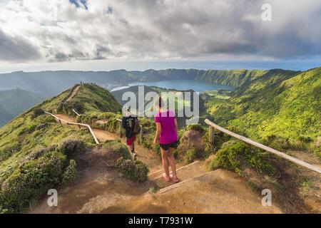 Portugal, Azores archipelago, Sao Miguel island, Sete Cidades, Boca do Inferno viewpoint, view over Lagoa Santiago and Lagoa Azul crater lakes - Stock Photo