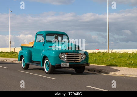 1949 Blue Ford Truck at Cleveleys Spring Car Show at Jubilee Gardens in 2019. A new location for a Classic Vehicle show from Blackpool Vehicle Preservation Group (BVPG). - Stock Photo
