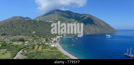 Panoramic view on the Filicudi Island, Aeolian, Sicily, Italy - Stock Photo