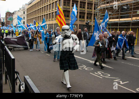 A Scots-clad Stormtrooper joins the pro-Independence march organised by All Under One Banner (AUOB), (appropriately) on 4th May 2019 (Star Wars Day). - Stock Photo