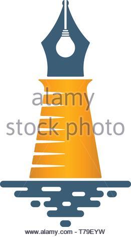 Lighthouse shaped pen nib with bulb on white background. Creative idea icon. - Stock Photo