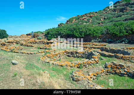 Prehistoric village 'la montagnola', Capo Graziano cape,  Filicudi island,Aeolian islands,  Sicily, Italy, Europe - Stock Photo