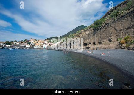 The beach of Rinella village, Salina Island, Aeolian Archipelago, Sicily, Italy - Stock Photo