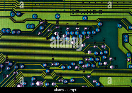 Macro picture of green printed circuit board - PCB - Stock Photo