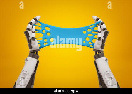 3d rendering of two black and white robot's hands holding blue sticky slime banner on yellow background. - Stock Photo