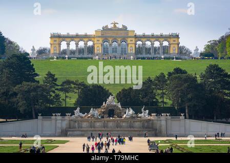 Gloriette Schonbrunn, view of the Gloriette building (1775) sited on a hill above the formal gardens of the Schloss Schönbrunn in Vienna, Austria.