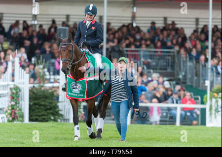 Piggy French and Amy Phillips at the prize giving ceremony of the  2019 Mitsubishi Motors Badminton Horse trials - Stock Photo