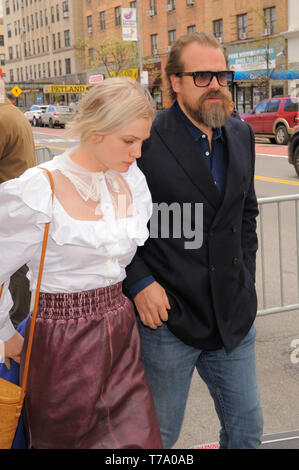NEW YORK, NY - APRIL 27, 2019: David Harbour and Alison Sudol are seen arriving to the premiere of 'Good Posture' in New York. - Stock Photo