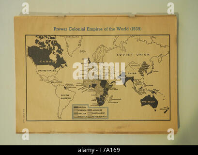 Editorial publication from January 2, 1943 showing the prewar colonial empires of the world as of 1939. The publication is from the American Education - Stock Photo